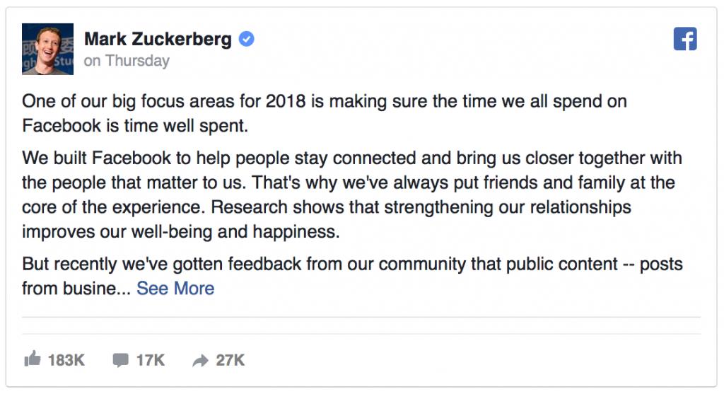 Facebooks udmelding om de nye ændringer januar 2018
